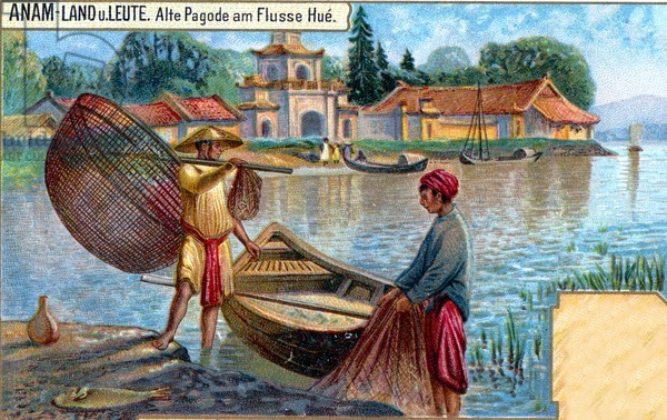 Fishermen opposite a temple on the banks of the Sông Hương (Perfume River), near Hué,  Annam (Vietnam), 1907 (colour litho)
