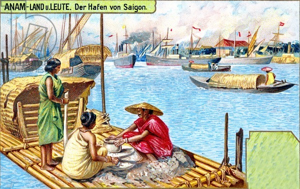 The Harbour at Saigon, Annam (Vietnam), 1907 (colour litho)