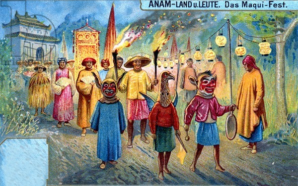 The Maqui Festival in Annam (Vietnam), 1907 (colour litho)